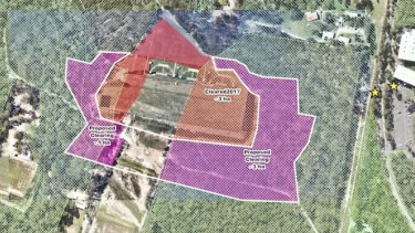 The Queensland Government has changed its mind about clearing an additional 3.54 hectares of koala. Observed koalas are noted by yellow dots. Bushland around the Belmont Shooting Complex. It now proposes to clear an extra 0.2 hectares.