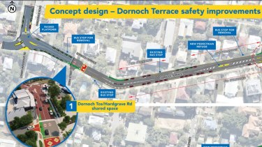 Some of the planned changes to Dornoch Terrace at West End where 27 cyclists have been injured in the past five years.