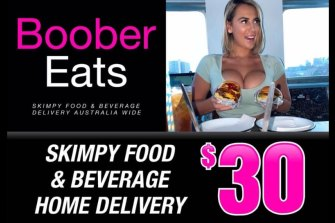 'Boober Eats' is a risqué take on the food delivery business model using Kalgoorlie's skimpies.