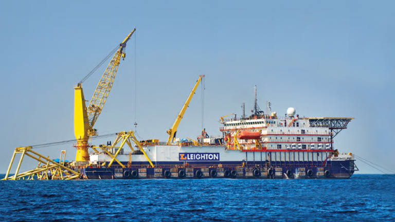 The Eclipse, one of Leighton's fleet of multimillion-dollar oil and gas pipe-laying barges.