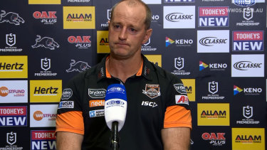 No comment: Wests Tigers coach Michael Maguire wouldn't be drawn on his relationship with Anthony Seibold.