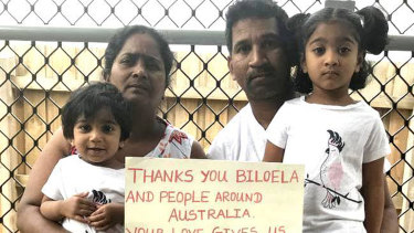 Priya and Nades Murugappan and their Australian-born children, Kopika and Tharnicaa, in a photo taken during their court fight to remain in Australia.