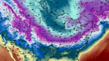 The polar vortex dips down into the US.
