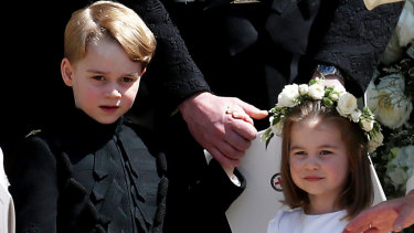 Prince George and Princess Charlotte at the wedding of Prince Harry and Meghan Markle. They will be among the pageboys and bridesmaids at Princess Eugenie's wedding.