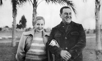 Juan Peron, former president of Argentina, and his wife Evita, in 1950.