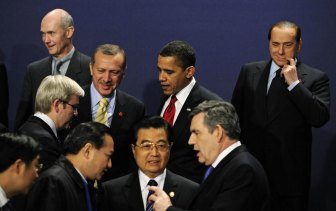 World leaders gather at the G20 summit in London in 2009.