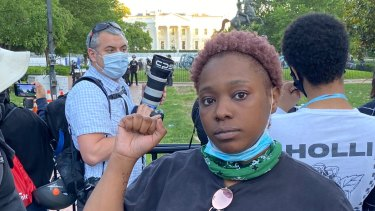Vanjalic Tolbert protests outside the White House in Washington.