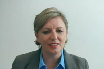 Labor MP for Cranbourne Pauline Richards before the anti-corruption commission on Monday.