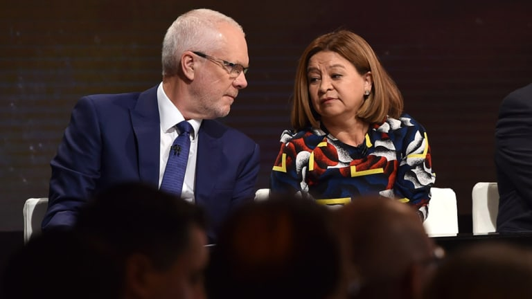 Justin Milne and Michelle Guthrie in February 2018.