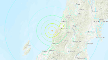 The quake was located off the western coast of Yamagata about 50 kilometres southwest of the city of Sakata.