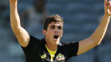 Sean Abbott claimed two wickets in his first game for Australia in five years.