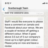 A message sent by a staff member directing employees to leave reviews on the restaurant locations on social media.