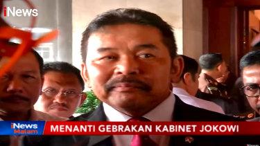 Attorney-General Sanitiar Burhanuddin on TV in Indonesia.