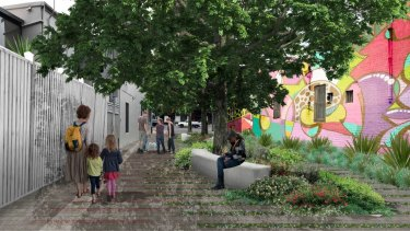 An artist's impression of a 300-square-metre park to be built on Petersham Street between Parramatta Road and Queen Street.