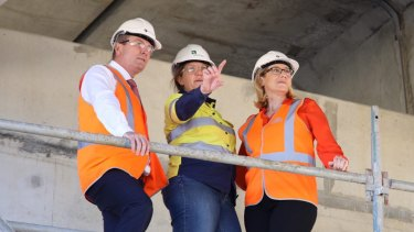 Premier Mark McGowan and Trasnport Minister Rita Saffioti inspect the Armadale Road upgrade.