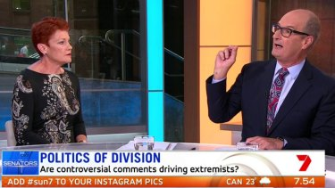 "David ""Kochie"" Koch asking One Nation leader Pauline Hanson about the Christchurch shooting on Seven's Sunrise on Monday, March 18, 2019."