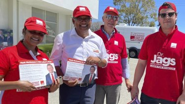 Riverton labor candidate, Dr Jags Krishnan on the campaign trail.
