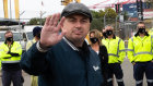 MUA Sydney secretary Paul McAleer with workers at Port Botany at the start of a four-hour stoppage on Friday.
