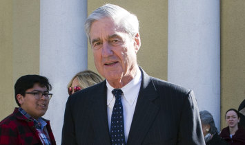 The man of the moment: Special Counsel Robert Mueller attends church in Washington on Sunday.