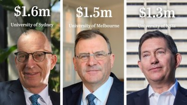Vice-chancellors in Australia are highly-paid, among them are: University of Sydney's (Michael Spence) at left; University of Melbourne's (Duncan Maskell) and University of NSW's (Ian Jacobs).