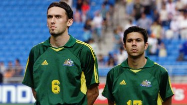 Joined at the hip: Tony Popovic and Steve Corica lining up before Australia's Confederations Cup clash against Mexico in 2002.
