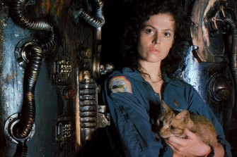Sigourney Weaver as Ripley, a role that has become a feminist landmark but which was originally written as male.