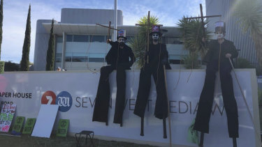 Extinction Rebellion protesters outside Seven West Media headquarters in Perth.