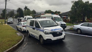 There was a large police presence at a house in Bellambi, where Kristie Powell's body was found.