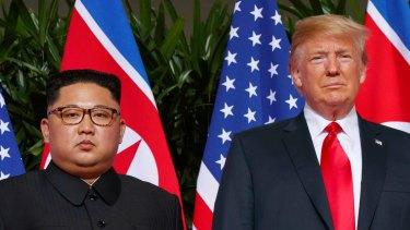 North Korean leader Kim Jong-un and US President Donald Trump in Singapore in June 2018.