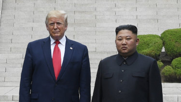 US President Donald Trump meets with North Korean leader Kim Jong-un at the border village of Panmunjom in the Demilitarised Zone in June.