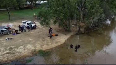 Police divers scour the dam behind the homestead in far north Queensland.