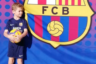 Menzies Dyer, 7, has been left upset by the closure of Barcelona's academy in Sydney, which he joined in January.