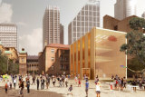 Artist impression of a revitalised Macquarie Street precinct which includes The Domain as envisaged by  McGregor Coxall.