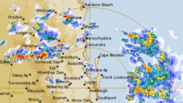The south-east Queensland radar on Saturday afternoon showing storms moving south-easterly offshore.
