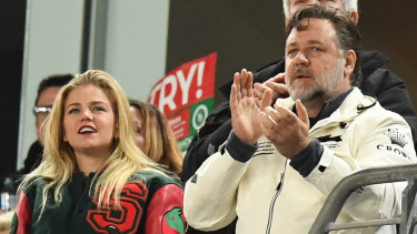 Russell Crowe and Sophia Forrest watching the Rabbitohs in action recently.