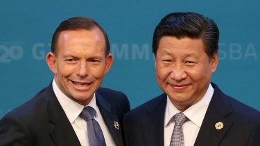 Then prime minister Tony Abbott welcomes President of China Xi Jinping to the G20 summit in Brisbane in 2014.