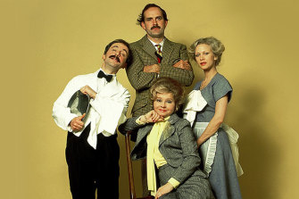 Fawlty Towers: Basil Fawlty (John Cleese), Manuel (Andrew Sachs), Sybil Fawlty (Prunella Scales) and Polly (Connie Booth).