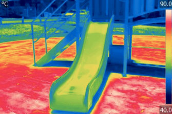 Infrared image shows heat at a western Sydney playground taken in January 2020, with temperatures notching 90 degrees on the unshaded synthetic grass
