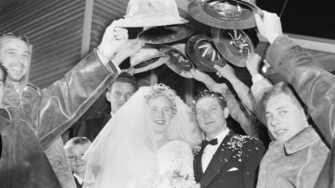 The wedding of Gisela Stahl and Alfred Andre in the Snowy Mountains in 1958.