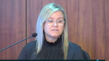 Crown Resorts' compliance chief Michelle Fielding (pictured giving evidence to the Victorian royal commission on Monday) agreed her comments to the gambling regulator were inappropriate.