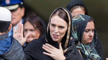 New Zealand Prime Minister Jacinda Ardern at the national call to prayer on Friday, a week after the Christchurch massacre.