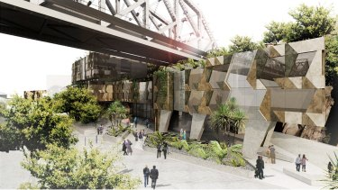 An artist's impression of the hotel at Howard Smith Wharves.