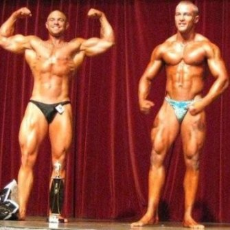 James Blatch (left) appeared in a bodybuilding competition when he was 18 years old at Cronulla Leagues Club in Sydney.