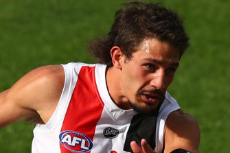 Long bomb: St Kilda's Ben Long faces disciplinary action after his hit on Fremantle's Sean Darcy.