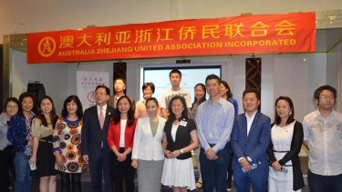 Chisolm candidates Gladys Liu (front centre, black jacket) and Jennifer Yang (front centre, red jacket) at an event with the Australian Zheijang United Association.