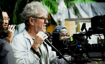 Doyle on the set of his feature film, Hong Kong Trilogy in 2014.