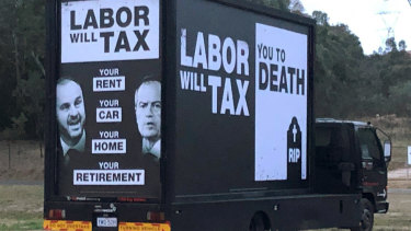 The truck that was spotted around the ACT displaying political advertisingreferring to Labor taxes - the fine print says it was authorised by the Liberal Party.