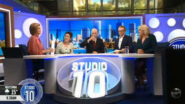 Leyonhjelm with Studio 10's panel following the awkward segment.