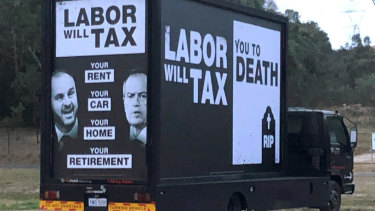The truck that was spotted around the ACT displaying political advertising referring to Labor taxes  - the fine print says it was authorised by the Liberal Party.