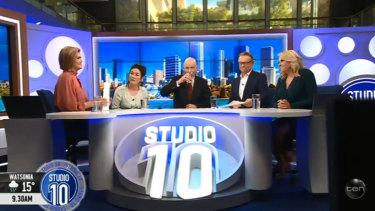 Leyonhjelm with Studio 10's panel following the awkward segment.